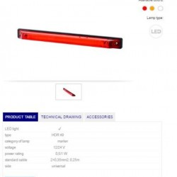 Габарит преден, червен LED 12-24V