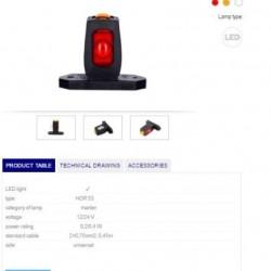 Габарит страничен диоден червен/бял/оранжев LED 12/24V, универсален