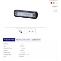 Габарит бял с гумена подложка LED 12/24V -универсален-