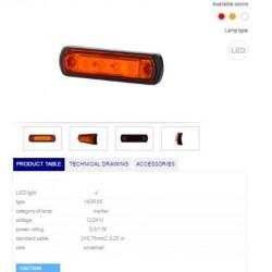 Габарит оранжев LED 12/24V, универсален
