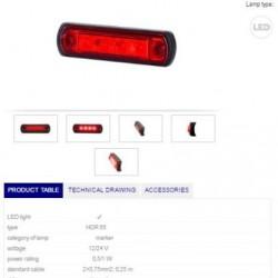 Габарит червен LED 12-24V