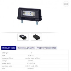 Осветител номер LED 12/24V, универсален