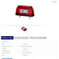 Осветител номер червен, LED 12/24V
