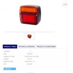 Стоп широк с мигач LED 12/24V - универсален-