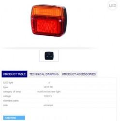 Стоп тесен 2секции LED 12-24V с байонетна букса
