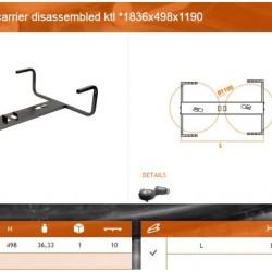 Стойка резервна гума 2 броя без крепежни елементи с KTL покритие и 2 дръжки 1836x498x1190