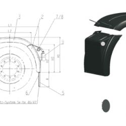 Калник заден средна част, комплект с гумени скоби B 690 x L2 915 mm; 2.7kg -MAN TGA/TGS/TGX-