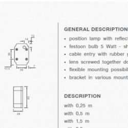 Габарит страничен бял, 24V с P&R 0.5м кабел