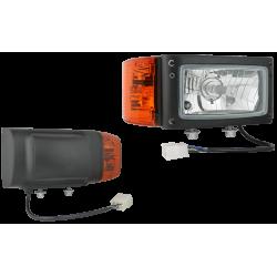 Фар универсален с мигач LH с единично долно захващане 12V/H4/P21W/W5W