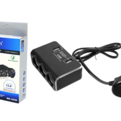 Разклонител за запалка с USB 12/24V с волтметър