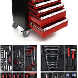 Количка за инструменти 6 чекмеджета + странична врата, 263 елемента, 85x47x97 cm