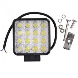 Фар работен универсален правоъгълен със стойка 48W,16 LED,12/24V-бял