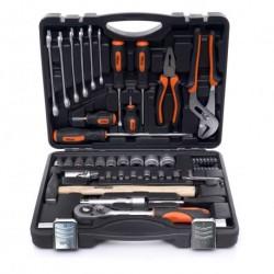 Куфар с инструменти 56 елемента, тресчотка + вложки, чук, отверки и ключове